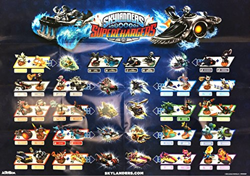 """Skylanders Superchargers Dark Edition Double-Sided Figure and Vehicle Character Poster 28"""" x 20"""""""