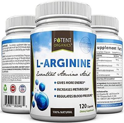 Potent Organics L-Arginine Essential Amino Acids 120 Capsules