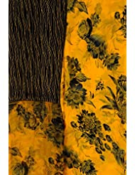 Exotic India Citrus-Yellow Salwar Kameez Fabric With Printed Flowers - Yellow