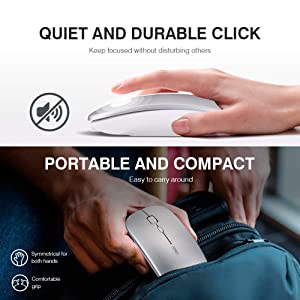 inphic Rechargeable Wireless Mouse, Mute Silent Click Mini Noiseless Optical Mice,Ultra Thin 1600 DPI for Notebook,PC,Laptop,Computer,MacBook (Light Silver) (Color: Sliver)