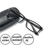 EyeYee Reading Glasses +1.75 Black- Rectangle Full Rim Anti Reflective Mens Womens Eyeglasses Readers Comfortable stylish glasses (Color: Black, Tamaño: 1.75)