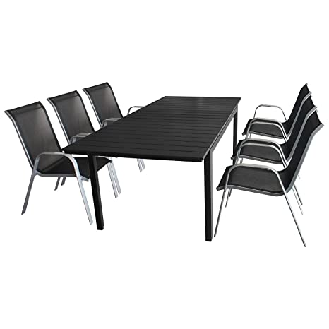 7tlg. Gartengarnitur - Ausziehtisch mit Polywood Tischplatte 160/210x95cm + 6x Stapelstuhl mit komfortabler Textilenbespannung - Sitzgruppe Sitzgarnitur Sitzgruppe Gartenmöbel Terrassenmöbel Set