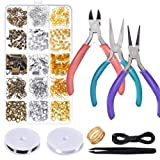 Anezus Jewelry Repair Kit with Jewelry Pliers, Jewelry Making Tools, Beading String and Jewelry Making Supplies for Jewelry Repair, Jewelry Making and Beading (Color: Multicolored1)