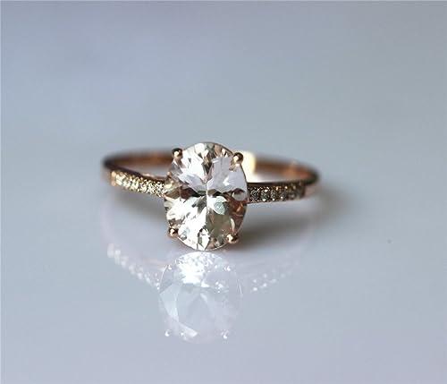 VogueGem VS 7*9mm Morganite Ring in 14k Rose Gold Engagement Wedding Ring Gemstone Ring Engagement Ring
