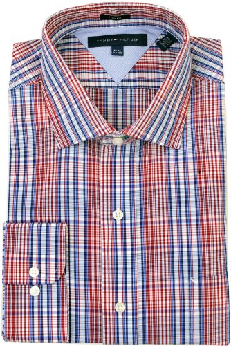 Tommy Hilfiger Men's Slim Fit Tartan Dress Shirt, Multi, 15