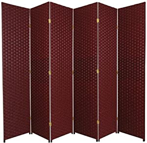 Oriental furniture solid opaque shade barrier divide 84 inch tall size woven fiber - Opaque room divider ...