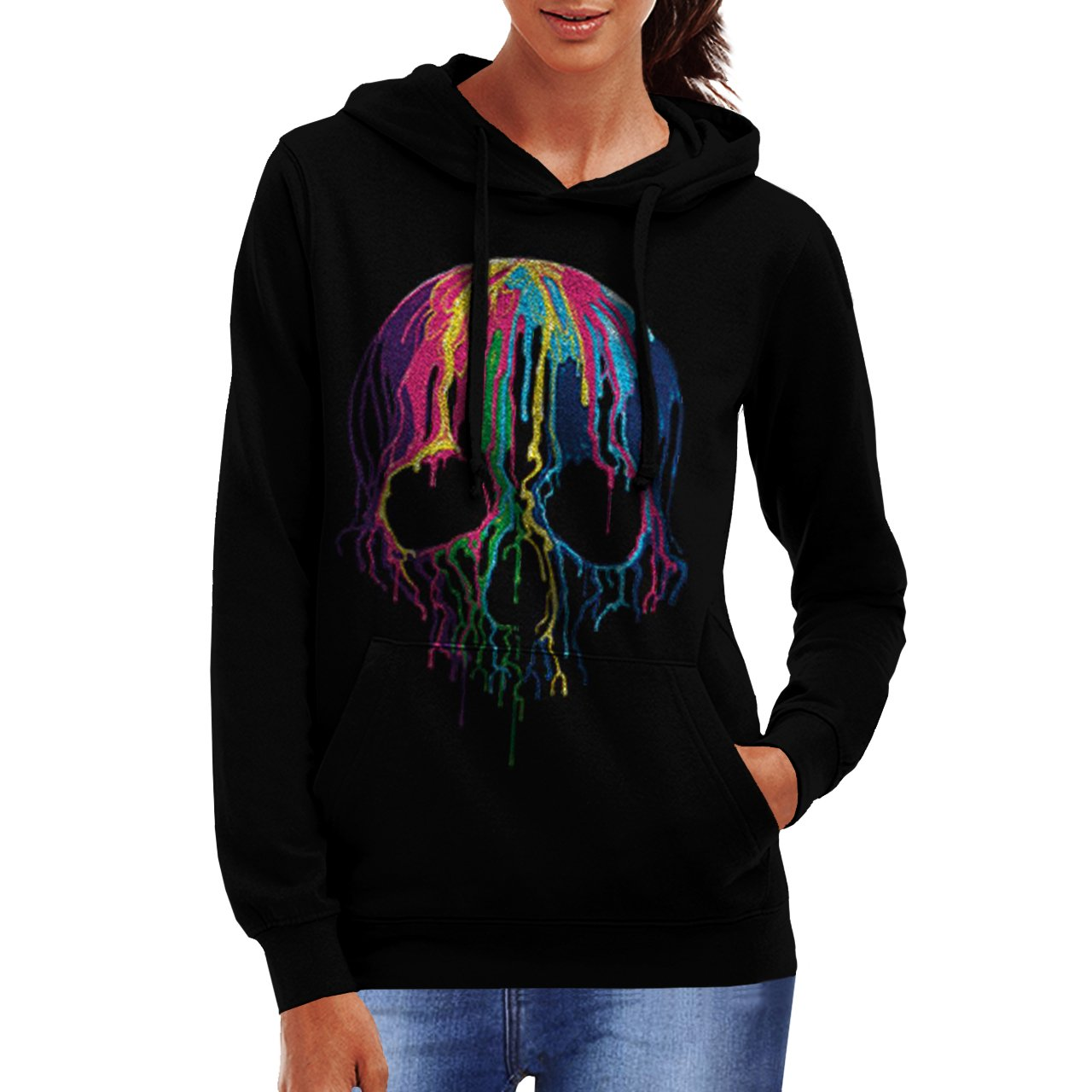 Skull DJ Party Dye Womens NEW Paint Splat Black Hoodie S-2XL
