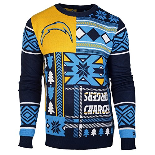 Nfl San Diego Chargers Patches Ugly Sweater Blue Large