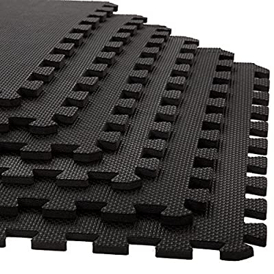 Stalwart 6 Pack Interlocking EVA Foam Floor Mats Black 24x24x0.375