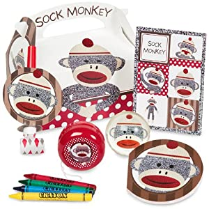 Sock Monkey Red Party Favor Box
