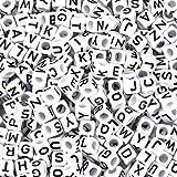 Pandahall 300Pcs Mixed White Acrylic Letter/ Alphabet Cube Beads 6x6mm