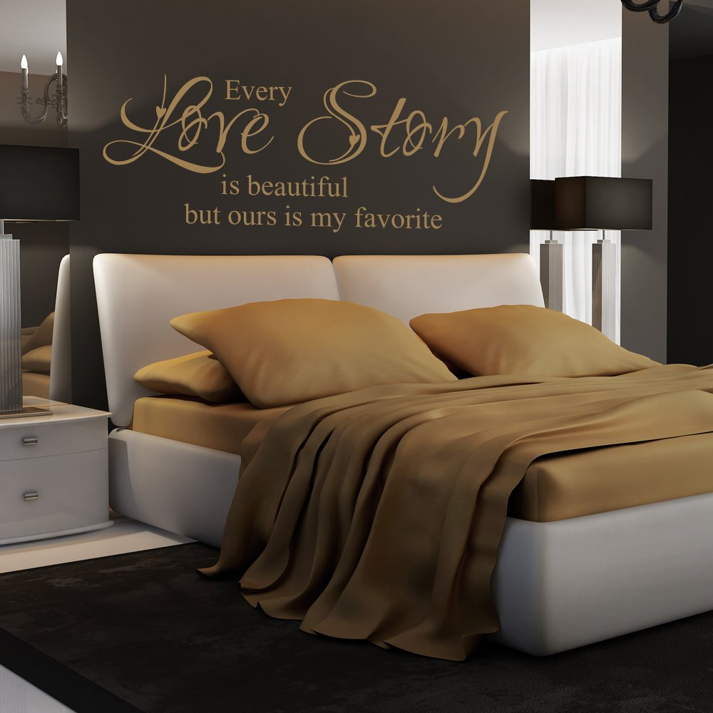 Every Love Story Is Beautiful But Ours Is My Favorite – Romantic Bedroom Love Decal, Bedroom Decor Inspirational Words, Vinyl Wall Decal (Black, Large)