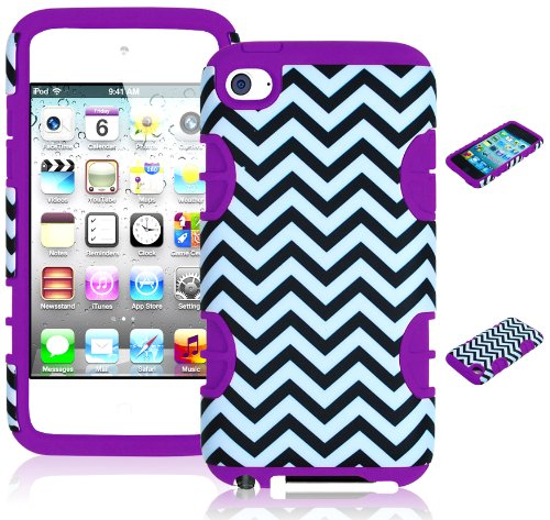 Bastex Hybrid Hard Case For Apple Ipod Touch 4, 4Th Generation - Purple Silicone With Black & White Chevron Pattern front-790300
