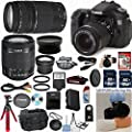 Canon EOS 70D 20.2 MP Digital SLR Camera with Dual Pixel CMOS AF Full HD 1080p Video with Movie and EF-S 18-55mm F3.5-5.6 IS STM Celltime Exclusive Bundle with Canon 75-300mm III Zoom Lens + Wide Angle Lens + Telephoto Lens + Professional Bendi Tripod + H