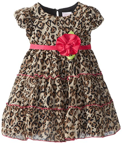 Youngland Little Girls' Leopard Tiered Fashion Dress With Cap Sleeves, Multi, 4T