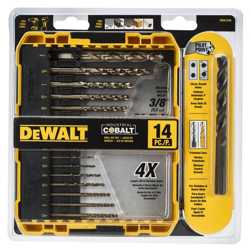 DEWALT DWA1240 Pilot Point Industrial Cobalt Drill Bit Set (14 Piece) (Drill Bit For Metal compare prices)