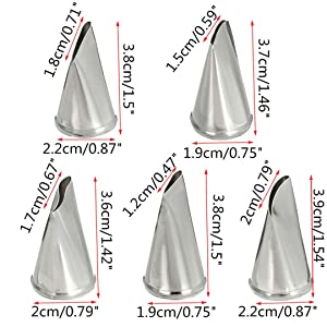 Meao 5 Pieces Piping Tips Set - Stainless Steel Piping Nozzles Kit for Pastry Cupcakes Cakes Cookies Decorating (Color: Silver #5)