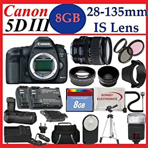 Canon EOS 5D Mark III with Canon 28-135mm Lens + SSE PRO Monster Battery Grip, Lens & Tripod Complete Accessories Package (Everything you Need)
