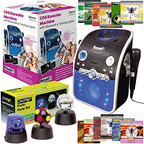 Singing Machine Mr Entertainer Bluetooth Karaoke CD Player Inc Microphones and 14 CD+G Discs & Party Lights