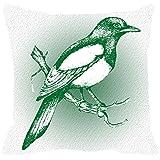 Leaf Designs - Grey And Green Bird Cushion Cover