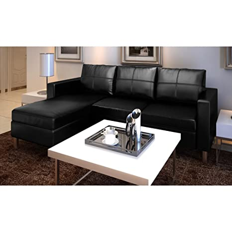 Sofá de cuero real 3 asientos negro