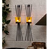 TIEDRIBBONS Decorative Tlight Holder /wall Sconce Holder (Black, Metal)
