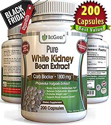 100% Pure White Kidney Bean Extract 1800mg (200 Capsules) Best Phase 2 Carb and Fat Blocker & Starch Intercept Supplement For Weight Loss (More potent than 500mg, 1000mg or 1500mg, Powder or Liquid)
