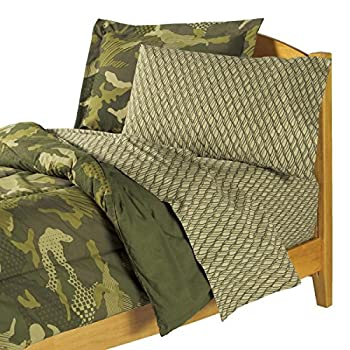 Dream Factory Geo Camo Army Boys Comforter Set, Green, Twin