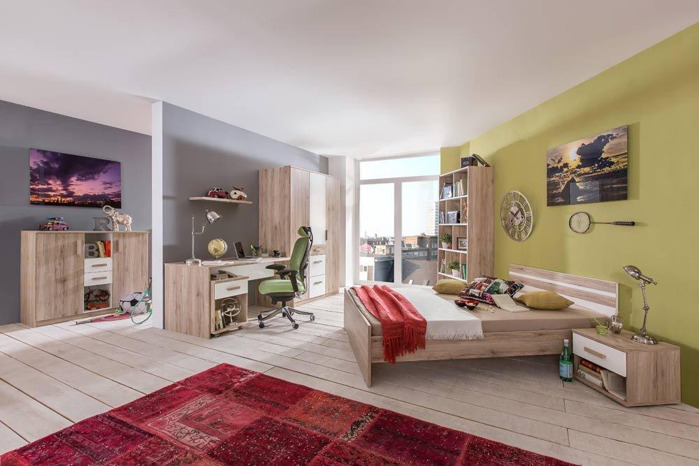 3-tlg. Jugendzimmer in alpinweiß und Sanremo Eiche Nachbildung mit Kleiderschrank (B. ca. 135 cm), Bett (90×200 cm) und Schreibtisch (B: ca. 140 cm) online kaufen