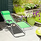 Zara Zero Gravity Reclining Sun Lounger with armrest tray / cup holder, adjustable, light, foldable + Integral Pillow