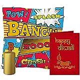 MySocialTab Diwali Gift Combo Of 12X12 Inches Cushion, Golden Pillar Candle And Diwali Wishing Greeting Card,DIWALIGIFTS870MST...