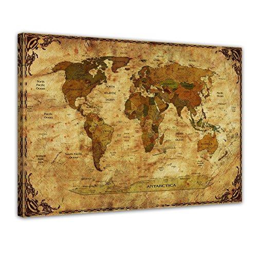 "Bilderdepot24 Leinwandbild ""Weltkarte retro II Rahmen"" - 70x50 cm 1 teilig - fertig gerahmt, direkt vom Hersteller"