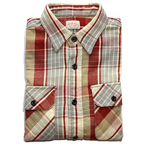 bii-free-mens-clothing-casual-button-down-shirts-100-cotton-plaid-shirt-large-red-plaid