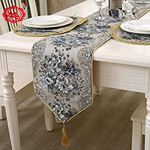 Table Runners Blue Floral Tablecloth Velvet Dining Runner Rectangle
