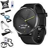 Garmin 010-01850-11 Vivomove HR, Sport, Black w/Black Silicone Band (Large) + 7-Piece Fitness Kit (Color: black)