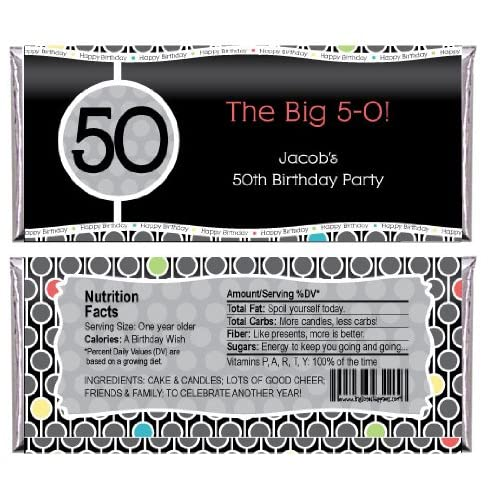 Adult 50th Birthday Personalized Candy Bar Wrapper Party Favors
