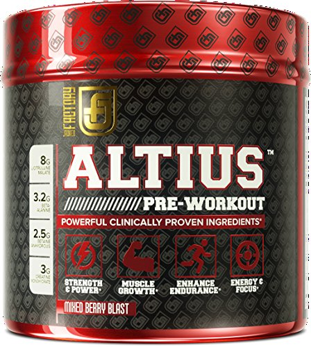 ALTIUS Pre-Workout Supplement - Naturally Sweetened - Clinically Dosed Powerhouse Formulation - Increase Energy & Focus, Enhance Endurance - Boost Strength, Pumps, & Performance - Mixed Berry Blast (14.3 OZ) (Thermogenic Energy Drink Mix compare prices)