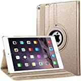Bingsale 360 à Housse en cuir pour iPad Air 2 avec rabat/stand de positionnement support et le sort de veille (iPad Air 2, Champagne or)