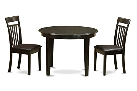 East West Furniture BOCA3-CAP-LC 3-Piece Kitchen Table Set, Small, Cappuccino Finish