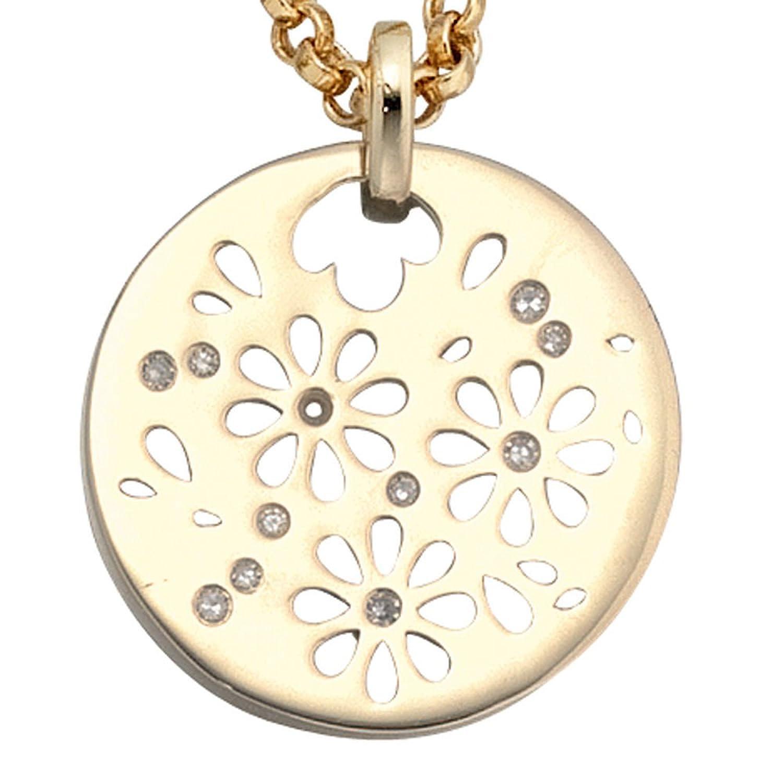 Damen Gold Anhänger 585 Gold Gelbgold 11 Diamanten als Geschenk