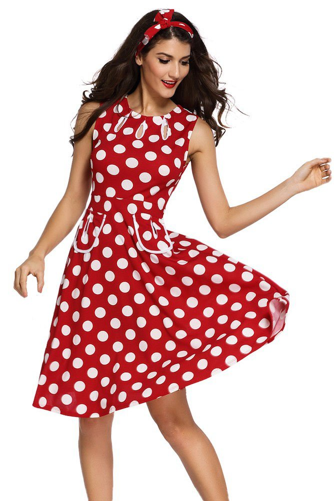 Roswear Women's Polka Dot 1950s Skater Skirt Vintage Swing Dress with Keyhole