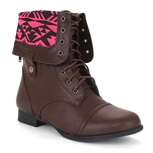 Twisted Women's Trooper Wide Calf Aztec Print Fold Over Military Boot - BROWN, Size 9