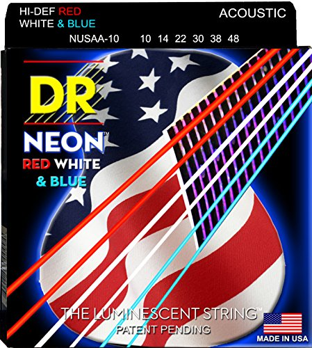 Dr Strings Nusaa-10 Coated Phosphor Bronze Acoustic Guitar Strings, Extra Light, 10-48, Neon Red/White/Blue