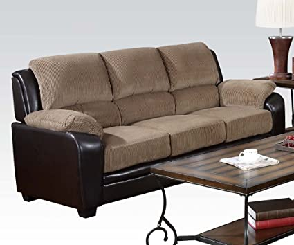 ACME 50450 Oisin Sofa with Light Brown Corduroy and Dark Brown PU