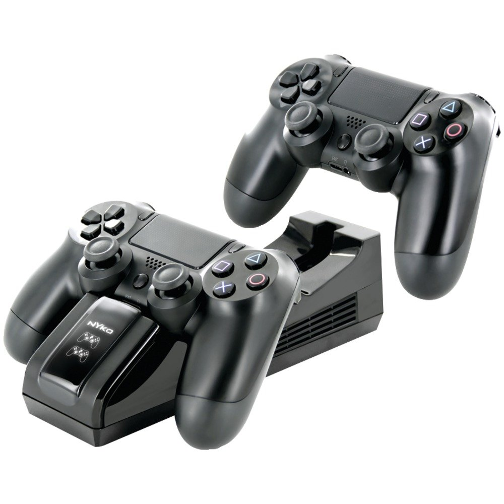 1 - PlayStation(R)4 Charge Base, Drop & charge design allows for charging without cables , Includes 2 USB charge adaptoes for quick & convenient use , 83200