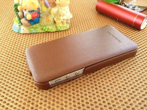 PCARO Luxury Vintage Leather Ornate Design Flip Case for iPhone 5, Coffee (Brown)