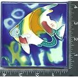 """Decorative Tile , TROPICAL FISH , Art, on, a, Ceramic, Tile, , 1 , , About, 4"""" X 4"""" X .25"""", HANDPAINTED, TILE,"""