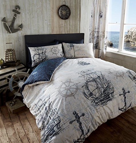 ADVENTURE DUVET QUILT COVER NAUTICAL BOAT SHIP ANCHOR