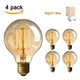 Vintage Edison Bulb, Elfeland Antique Retro Incandescent Light Bulb 40W Squirrel Cage Filament Light Bulb G80 Classic Amber Glass E26/E27 Medium Base Dimmable (4 Pack)