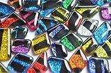 Mosaiksteine Softglas Glitter unregelm. Zebra bunt 100g ca.60St.